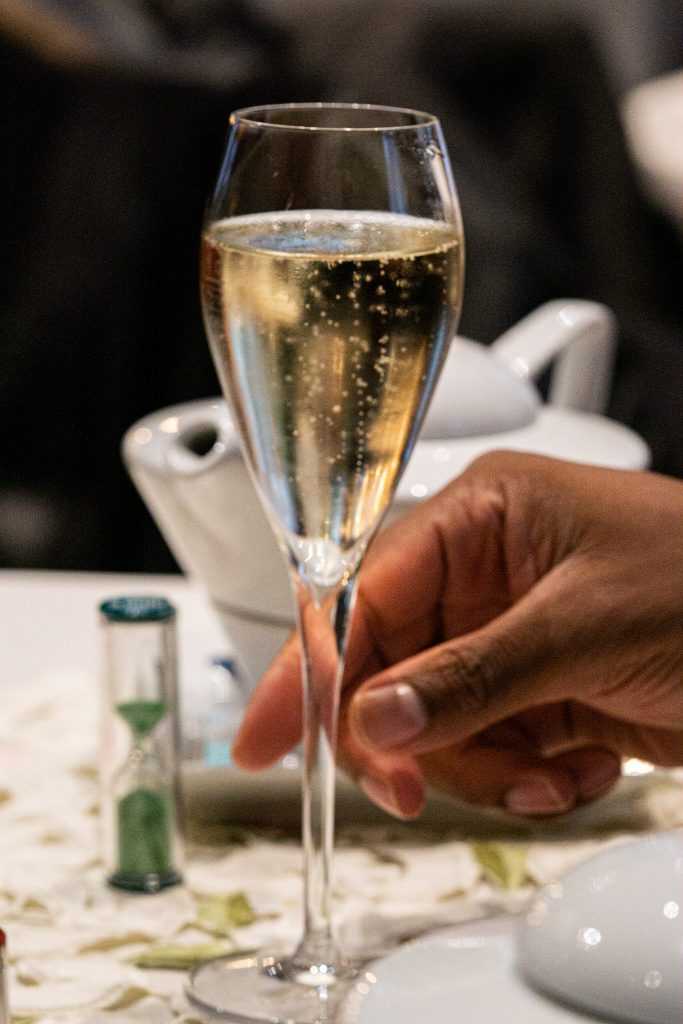 champagne at an afternoon teatime